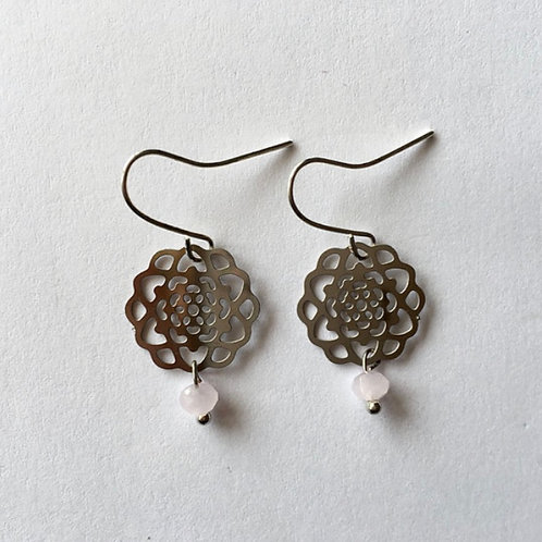 boucles d'oreilles rosace argent