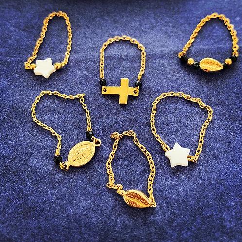 Bagues en chaînes plaqué or et nacre