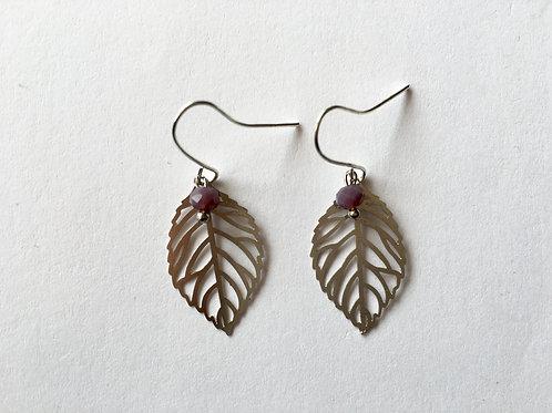 boucles d'oreilles feuilles argent
