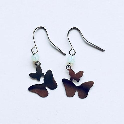 boucles d'oreilles butterfly argent