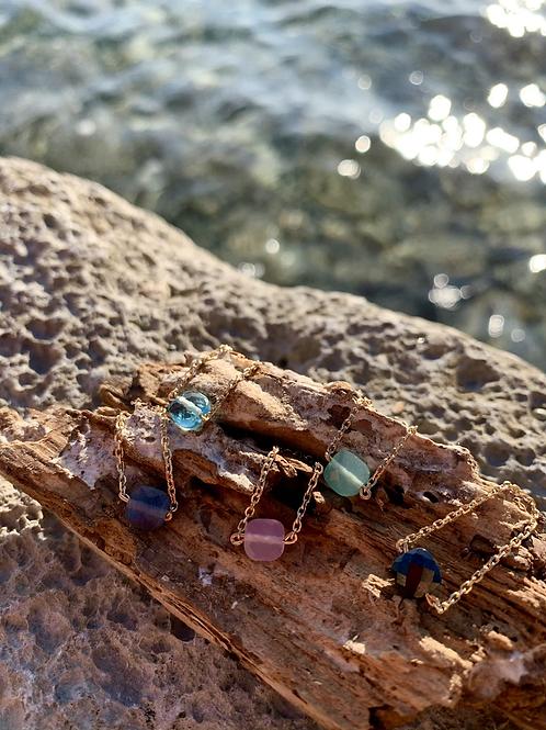 Bagues en chaîne plaquée or pierres semi précieuses