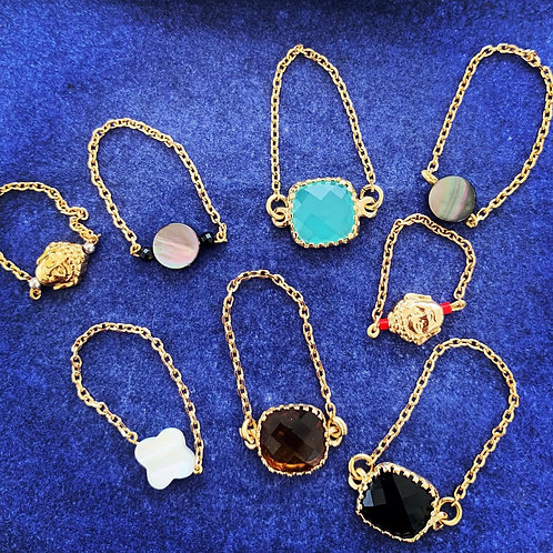 Bagues chaînes plaqué or pierres