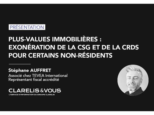 Plus-values immobilières : exonération de la CSG et de la CRDS pour certains non-résidents