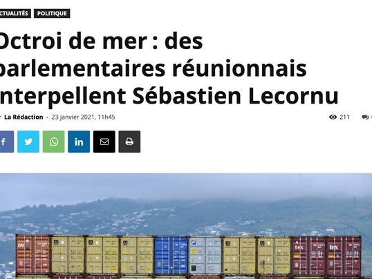 Octroi de mer: des parlementaires réunionnais interpellent Sébastien Lecornu