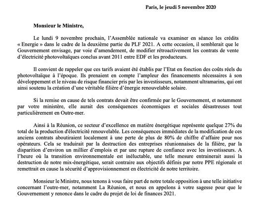 Amendement gouvernemental sur la fiscalité du secteur photovoltaïque - Outre-mer