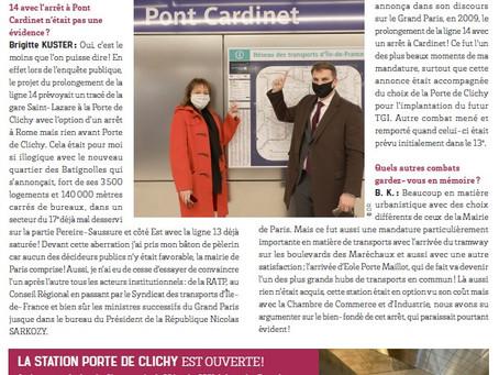 Interview dans le journal municipal Paris 17