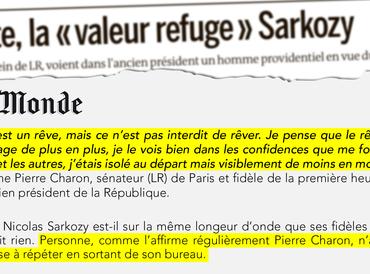 """À droite, la """"valeur refuge Sarkozy"""" (Le Monde - 20 février 2021)"""