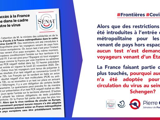 Conditions d'accès à la France métropolitaine dans le cadre de la lutte contre le virus Covid-19