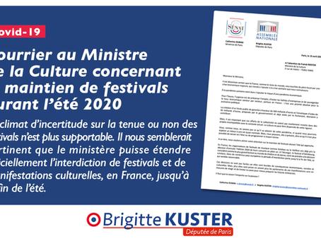 Courrier au Ministre de la Culture concernant le maintien de festivals durant l'été 2020