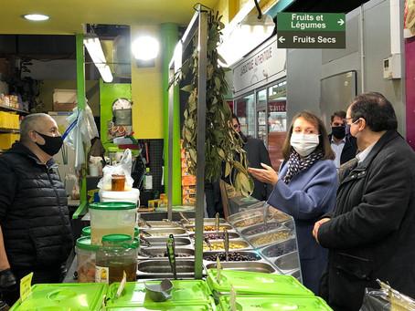 Paris 17 : tournée des commerçants au marché Lebon