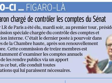 Le Figaro - Pierre Charon chargé de contrôler les comptes du Sénat