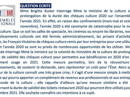 Prolongation de la durée des chèques culture 2020 sur l'ensemble de l'année 2021