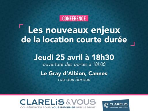 Les nouveaux enjeux de la location courte durée : conférence le 25 avril à Cannes