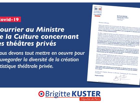 Courrier au Ministre de la Culture concernant les théâtres privés