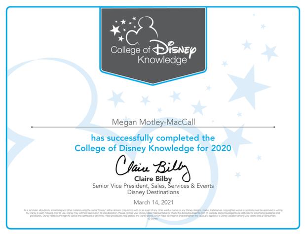 Disney Specialist Certification