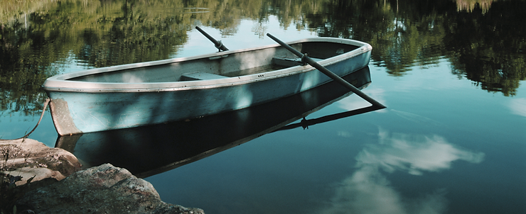 A canoe with oars in the water.