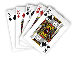 Photo of poker cards. Four of a kind