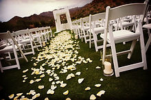 White padded resin chairs, White padded garden chairs, wedding ceromony, Central Pennslyvania Event Planner