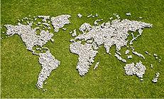 Foto de um Mapa Mundial num gramado verde