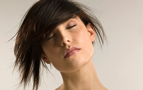 Brunette model with closed eyes