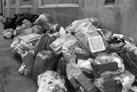 Commercial trash ready for pickup by Ohio Brook Disposal