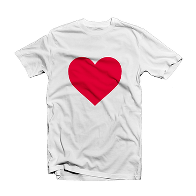T-Shirt wit Red Heart
