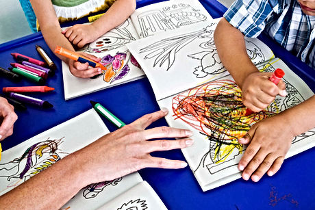 Kids colouring in