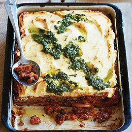 Lentil,-pumpkin-and-pesto-ricotta-lasagn