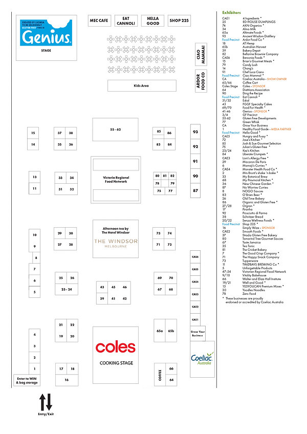 Melb expo floorplan and exhibitor list p