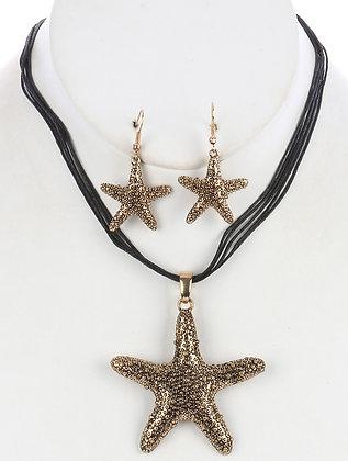 Multi Strand Starfish Necklace & Earrings Set