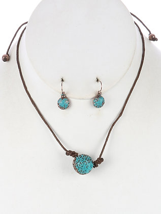 Turquoise Color Necklace & Earrings Set