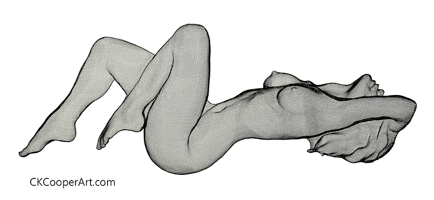 3D Wire mesh sculpture of the profile of a nude female form. Desire by CKCooper