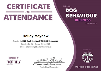 Dog Training Business Conference Certificate
