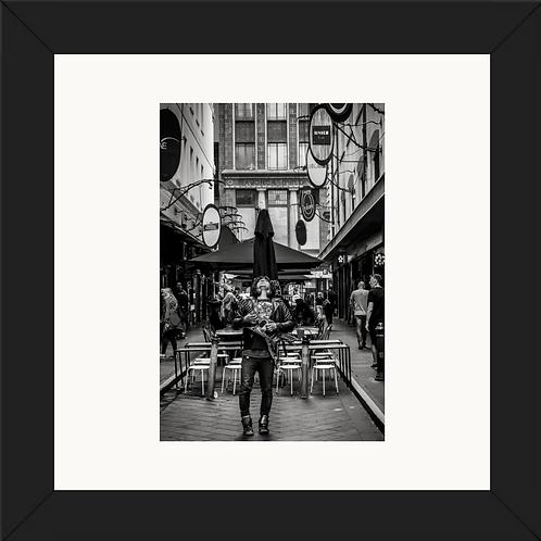Melbourne Street Artist 24x24 framed print