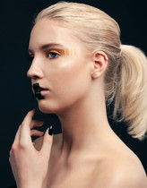 "Photography: Ron de Wildt Model: Rosanne Koelman Makeup & Hair: Cristina Rosu  ""Geometric Beauty"" Masterclass facilitated by Flavio Miguel at Art of Colors Makeup School"