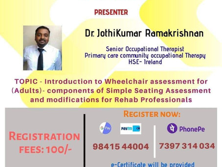 Online Guest Lecture Series - 10 - Webinar on Wheelchair Assessment