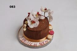 шоколадний торт з квітами