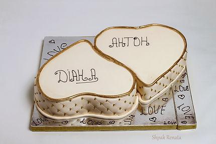 """Весільний торт """"два серця"""""""