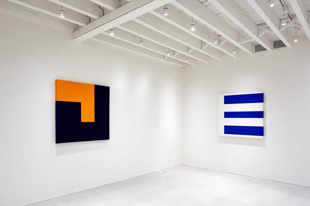 (L-R) Black & Orange, 1989; Composition Blue & White, 1989