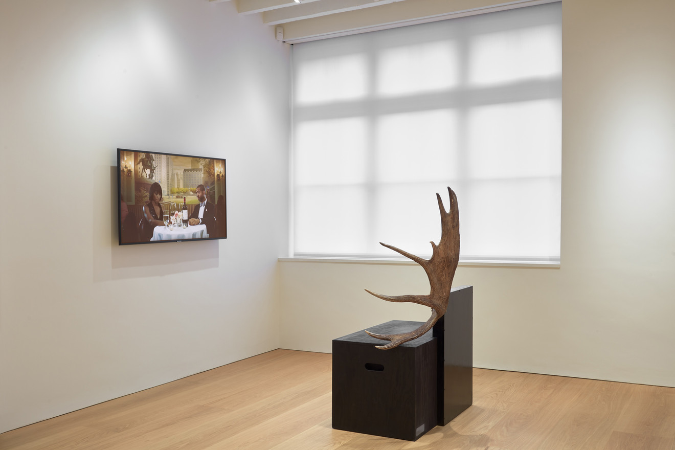 Ragnar Kjartansson, Scenes from Western Culture - Dinner, 2015; Rick Owens, Stag Bench, 2006
