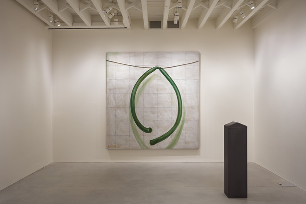 (L-R) Zhang Enli, The Rubber Pipe, 2012; Adam McEwen, Trash Can, 2015