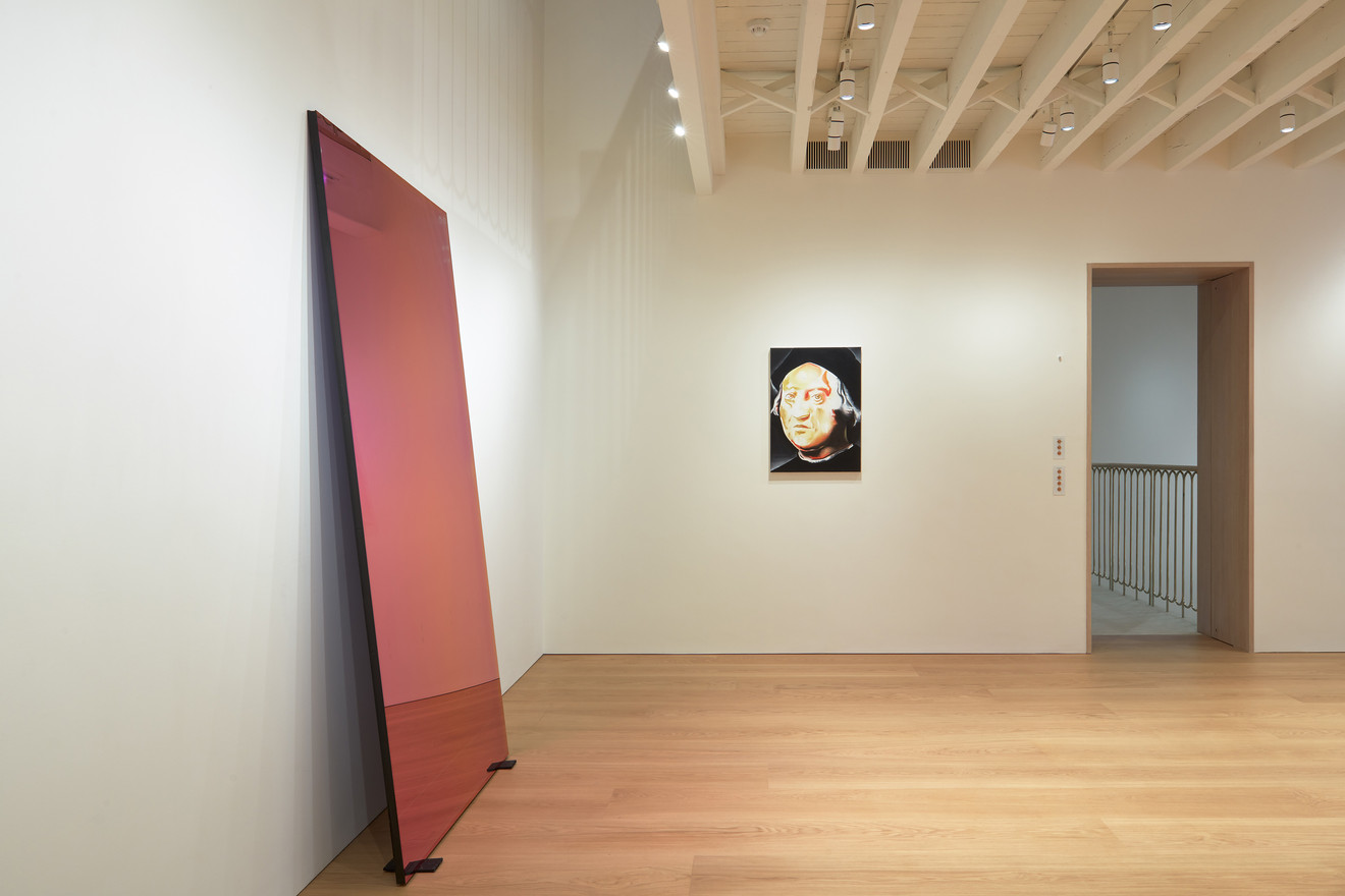 (L-R) Raphael Hefti, Subtraction as Addition, 2012; Wilhelm Sasnal, Christopher Columbus, 2014