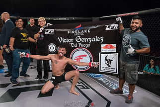 Victor Gonzalez celebrating his first round submission victory