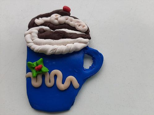 "Imán de Nevera Navideño ""Taza de chocolate caliente"""