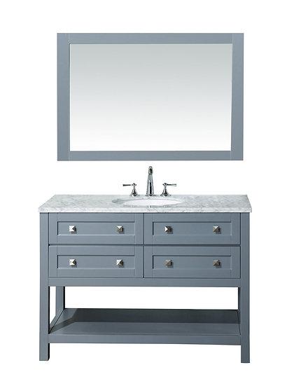 "Marla 48"" Single Sink Vanity with Mirror in Grey"