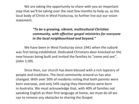 Important Letter to our Church Family