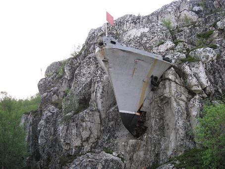 O navio de guerra na montanha: real ou falso?