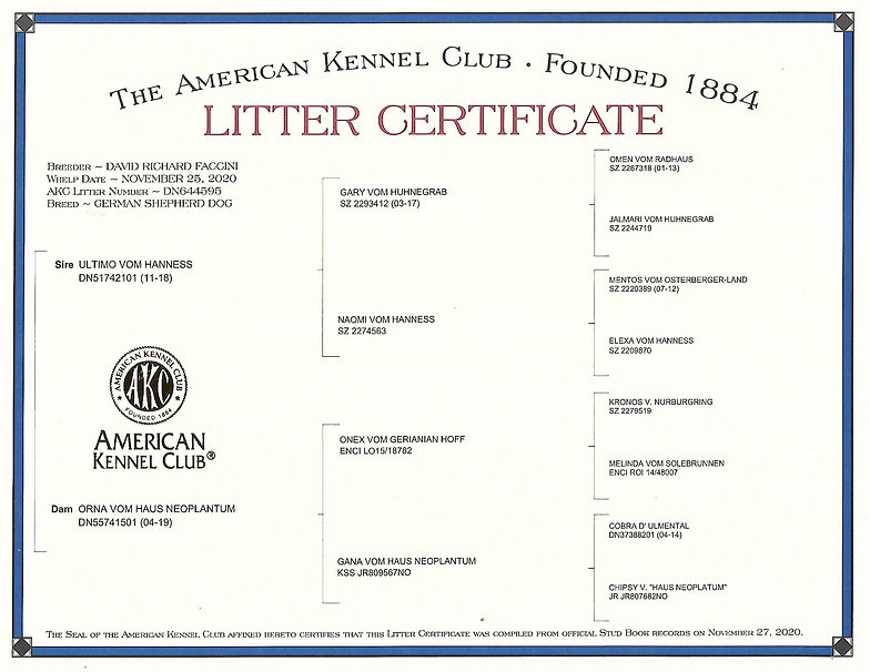ORNA AND ULTIMO LITTER CERTIFICATE E LIT