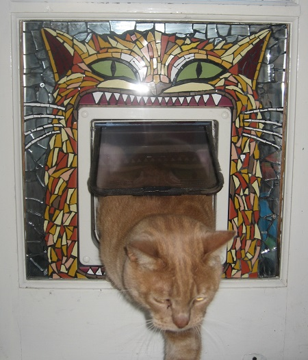 Mosaic cat door