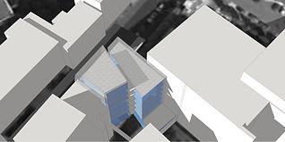 vue axonométrie arrière parcelle immeuble vitré panorama blocs maquette architecte paris 15 tnt architecture construction bâtiment immeuble logements notaire